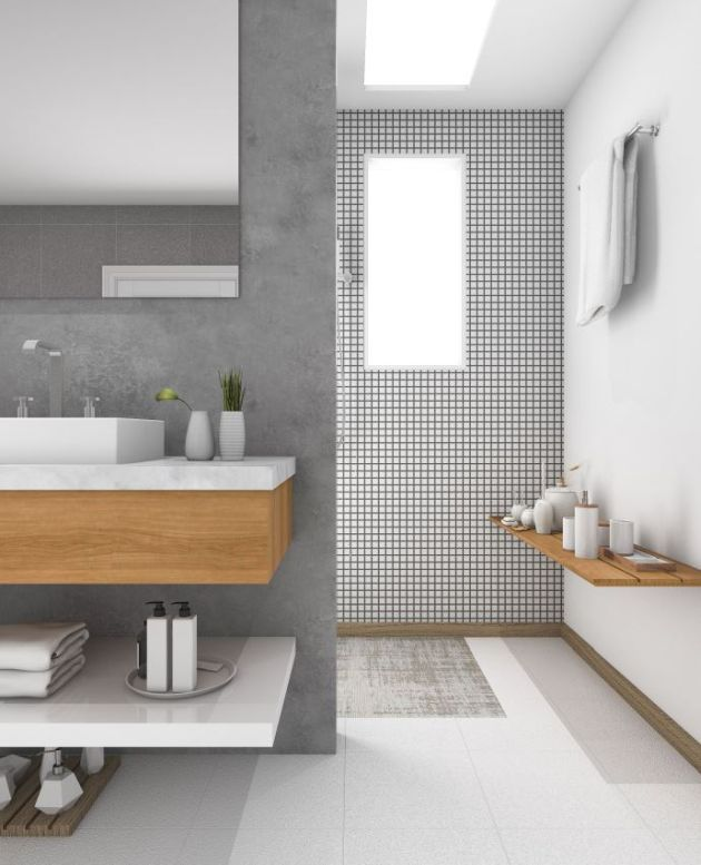 Neutral Transitional Bathroom In Off-Whites And Greys And Light-Colored Wooden Touches