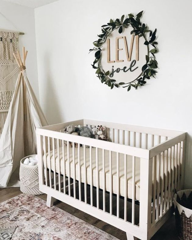 Nursery Décor Idea With The Name Placed On The Wall And Accented With A Fake Greenery Wreath