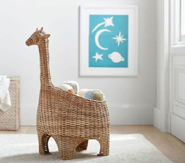 Nursery With Wicker Basket Storage