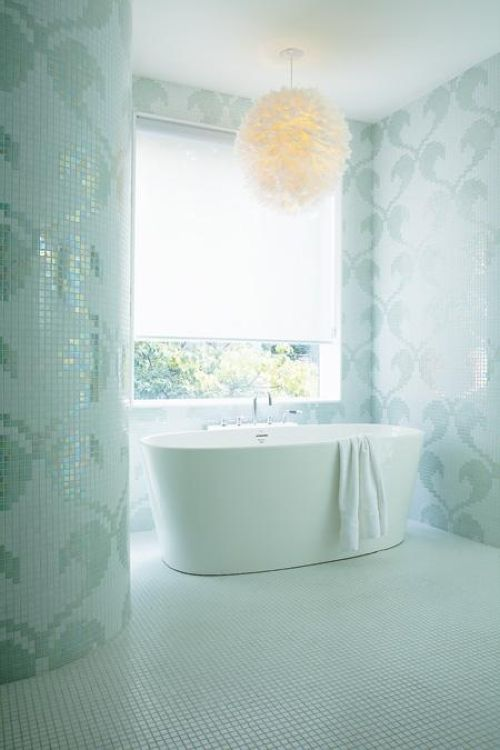Ocean-Inspired Bathroom Fully Clad With Aqua-Colored Mosaic Tiles
