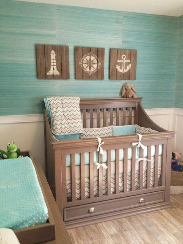 Ocean-Themed Nursery With Reclaimed Wood Artworks And A Turquoise