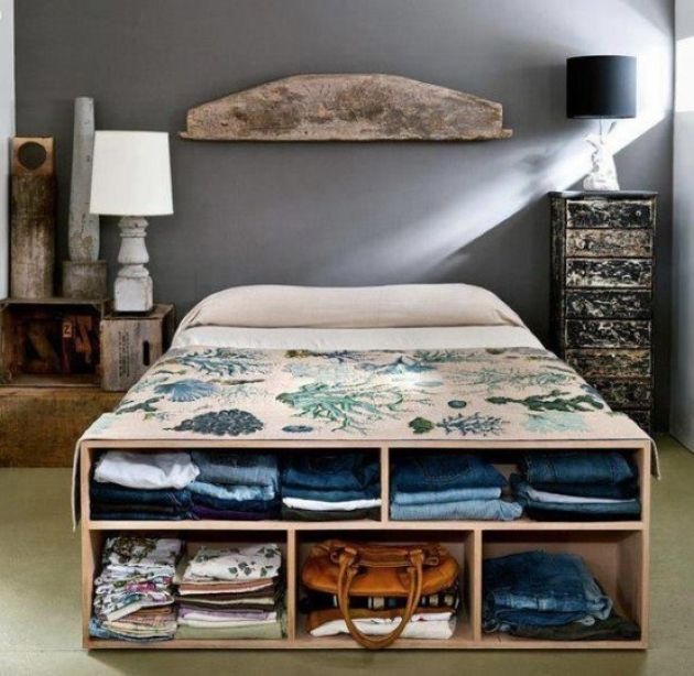 Open Storage Cabinet That Doubles As A Bench At The Foot Of The Bed
