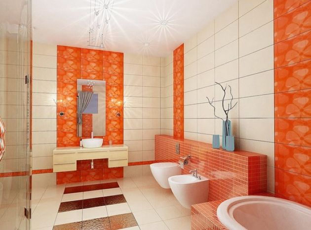 Orange Accents Integrated Into The Bathroom Decor With Bright Orange Tiles