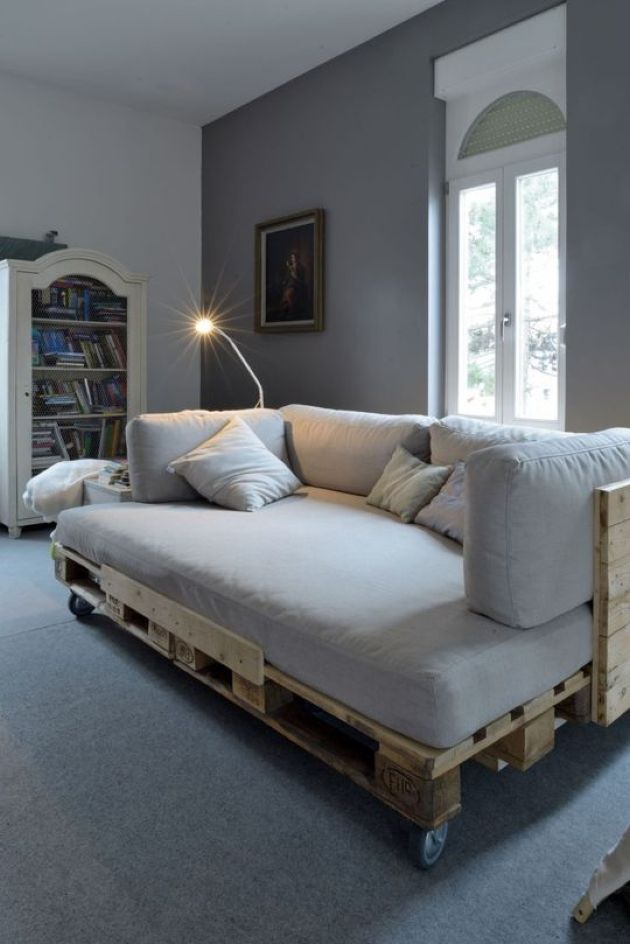 Pallet Daybed With A Back And Casters