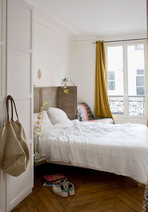 Paris-Inspired Chic Bedroom With A Shutter Screen As A Headboard