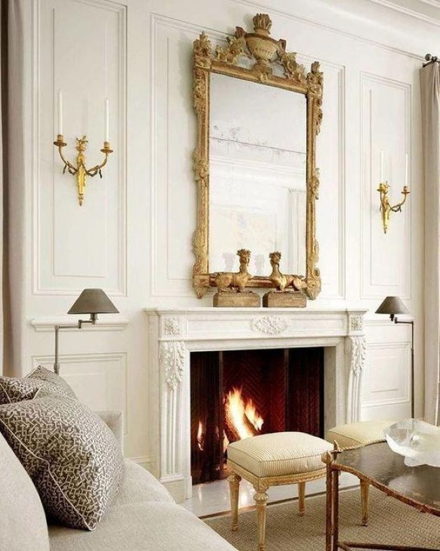 Parisian Living Room Décor With A Vintage Frame Mirror