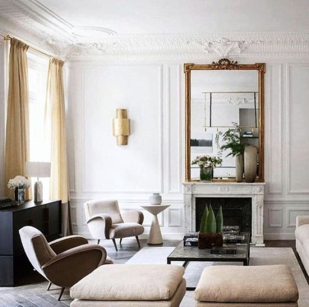 Parisian Living Room Décor With Fantastic Statement Mirror