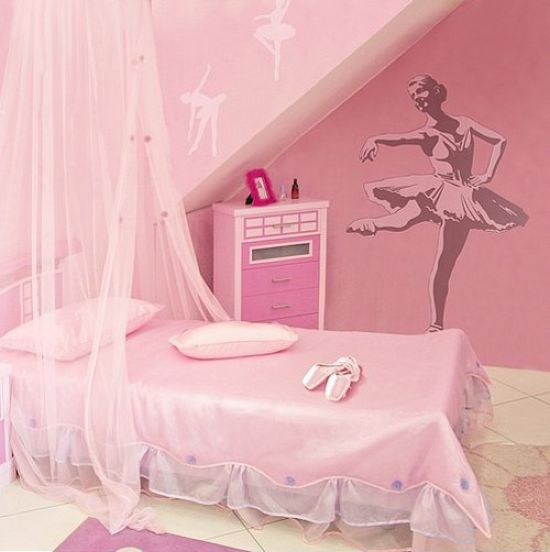 Pink Ballerina-Inspired Kid's Room With A Canopy Bed And A Ballet Dancer Art