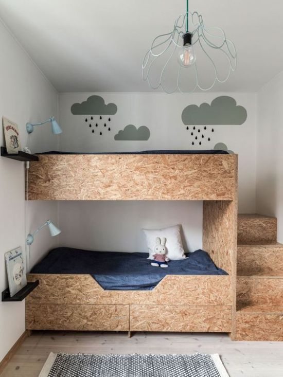 Plywood Kids Bunk Beds With Storage Drawers And Blue Wall Sconces