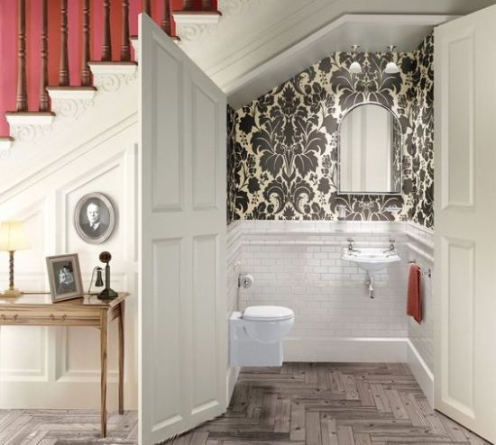 Powder Room Styled With White Tiles And Vintage Printed Wallpaper