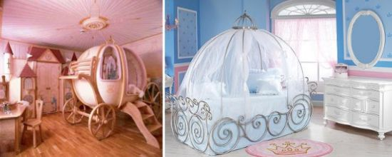 Princess-Themed Kids' Room With A Carriage Bed And Refined White Furniture