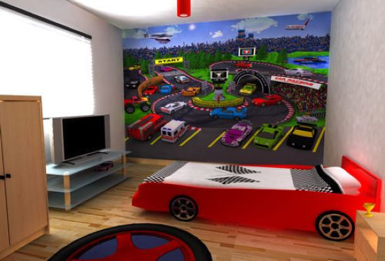 Racing Themed Kid's Room Done With A Car Bed