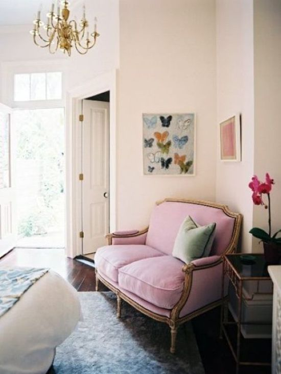 Refined Pink Loveseat With Gold Framing