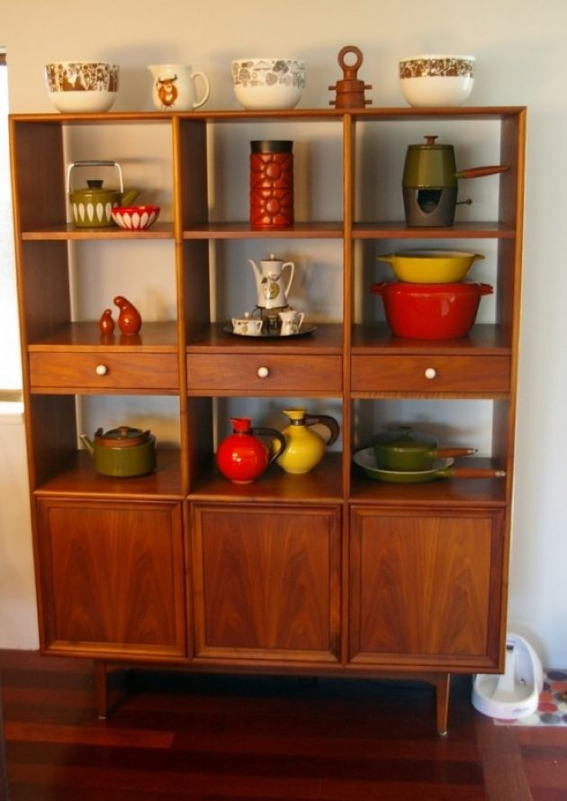 Rich Stained Storage Unit With Closed Compartments Plus Drawers And Open Shelves