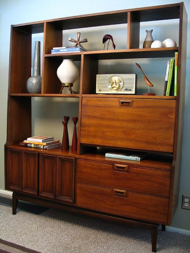 Rich-Stained Storage Unit With Open Shelves Plus Closed Storage Compartments And Drawers