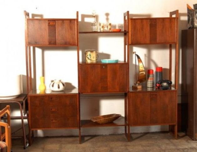 Rich Stained Wooden Wall Unit With Cabinet Compartments And Open Shelves
