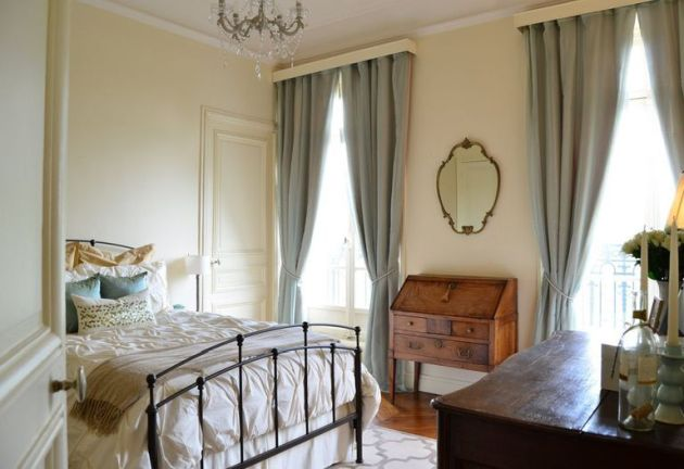 Romantic Parisian Bedroom With Antique Wooden Furniture