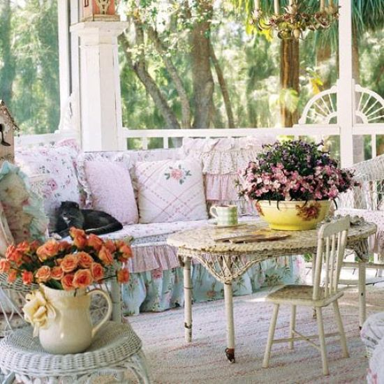 Shabby Chic Porch With Elegant Vintage Furniture