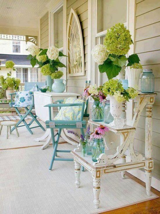 Shabby Chic Summer Porch With Blue And Neutral Furniture