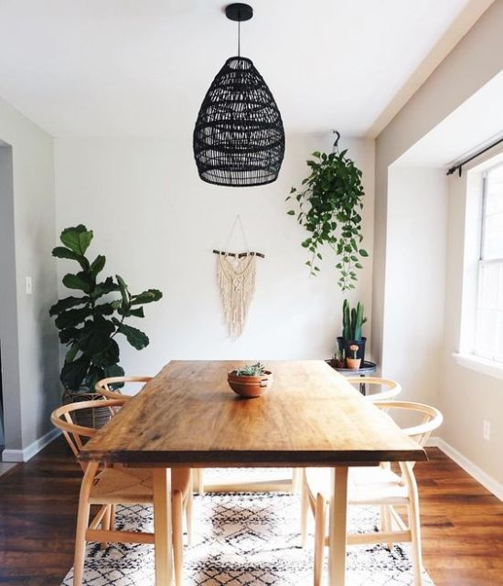 Simple Boho Dining Room With A Macrame Hanging And Black Wicker Pendant Lamp