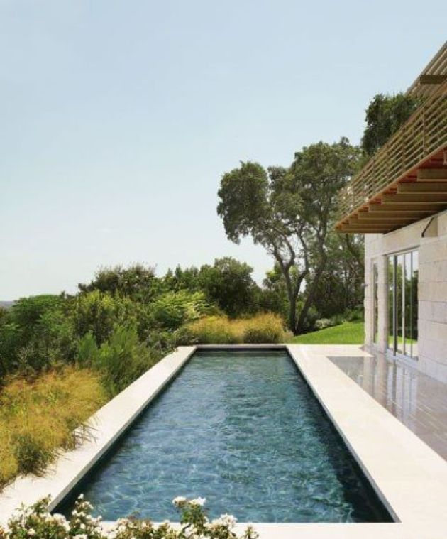 Simple Modern Narrow Pool Idea With A Gorgeous View