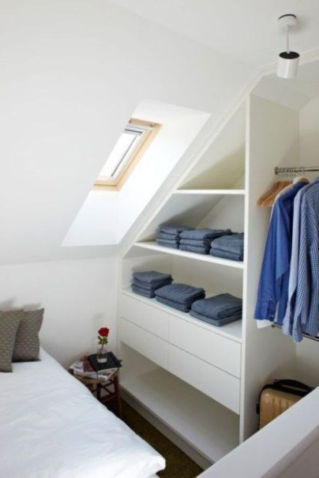 Sleek Attic Clothes Storage Item With Open Shelves And Drawers