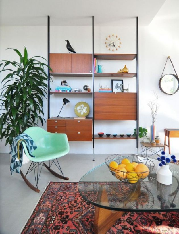 Sleek Mid-Century Modern Wall Unit With Drawers And Closed Compartments