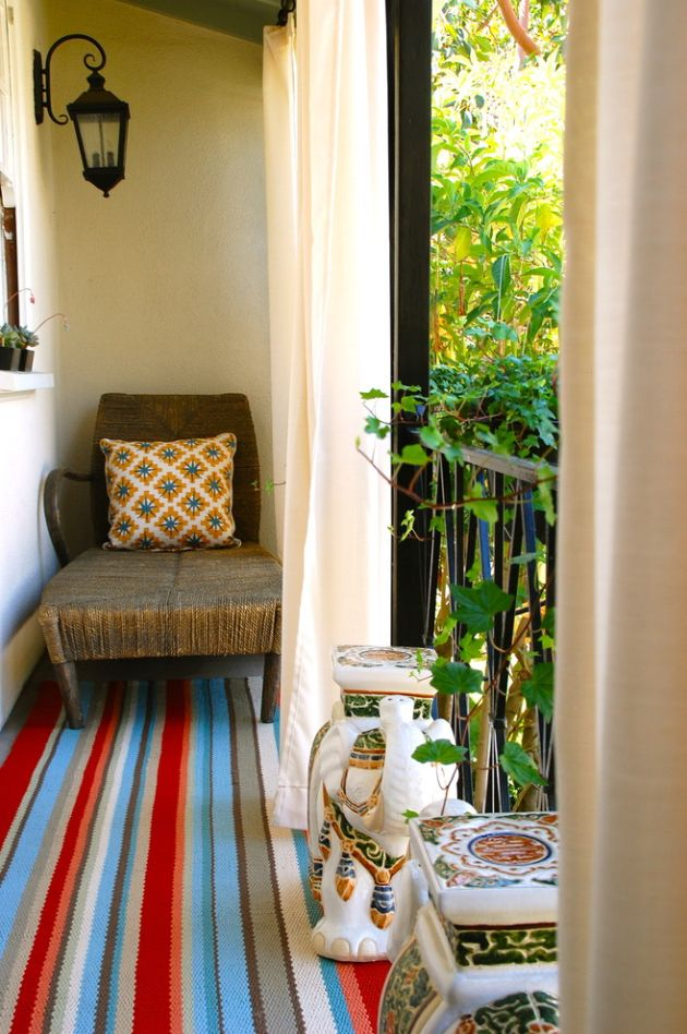 Small Balcony With Stripe Patterns And Simple Rug