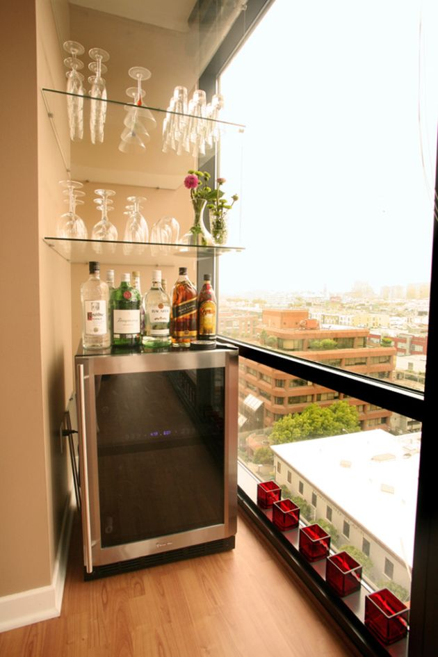 Small Balcony With Wine Cooler And Shelves