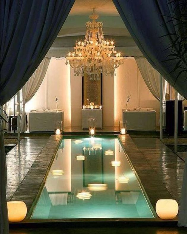 Small Indoor Pool With Lamps