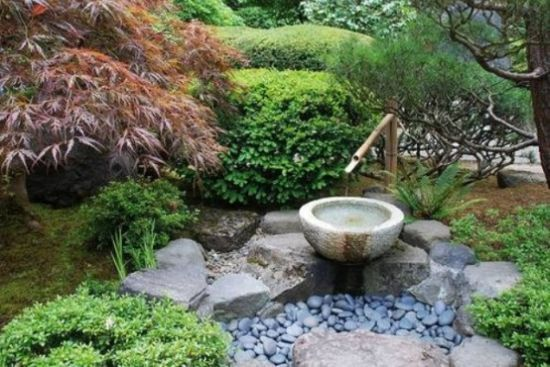 Small Japanese Garden With Pebbles And Rocks