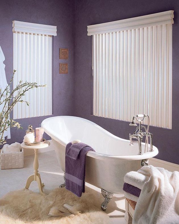 Stylish Bathroom With Purple Walls And Towels