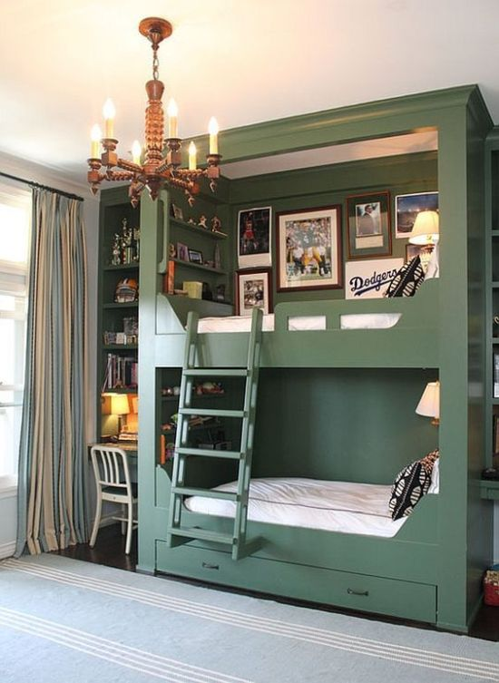 Stylish Green Bunk Beds With Storage Drawers And Wall Lamps