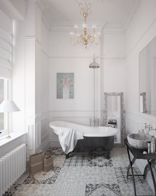 Stylish Parisian Bathroom With A Mosaic Floor And Elegant Chandelier