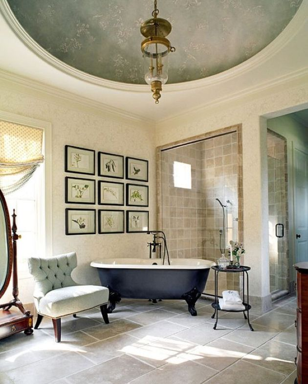 Stylish Vintage Parisian Bathroom With A Gallery Wall Plus Black Clawfoot Tub