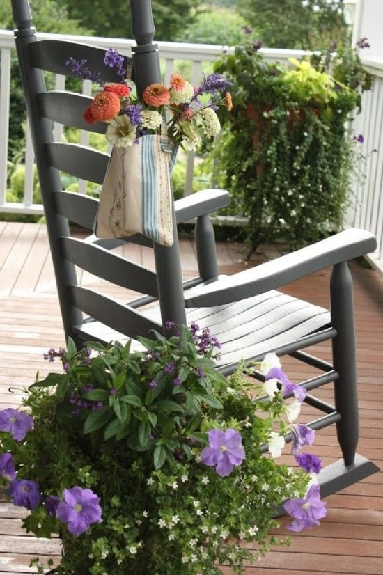 Summer Porch With Chair And Potted Flowers Plus Greenery