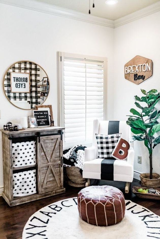 Super Bright And Cozy Farmhouse Nursery With A Name Sign Of Plywood