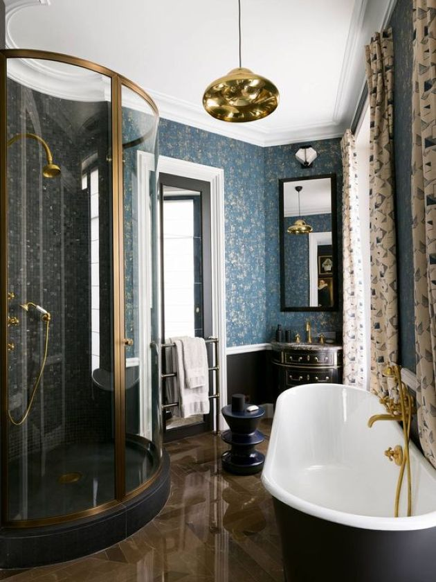 Vintage-Inspired Parisian Bathroom With Printed Curtains Plus Chic Black Tub