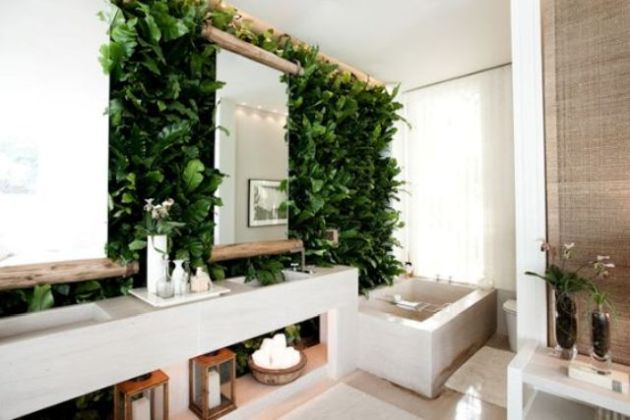 Wall Bathroom Decorating Idea With A Lush Living Wall And Wood