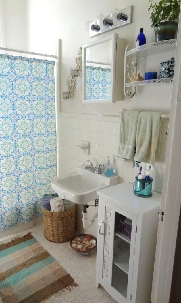 White Bathroom With Various Furniture Plus Boho Textiles