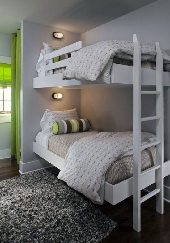 White Kids Bunk Bed Set With A White Ladder Small Wall Lamps