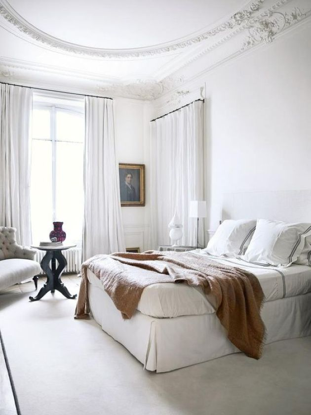 White Parisian Bedroom With Airy Curtains