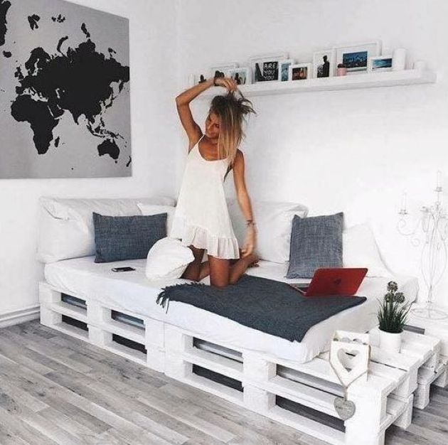 Whitewashed Pallet Bed And Some Storage Space