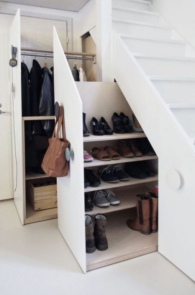 Whole Closet And Shoe Storage Hidden In The Staircase Drawers