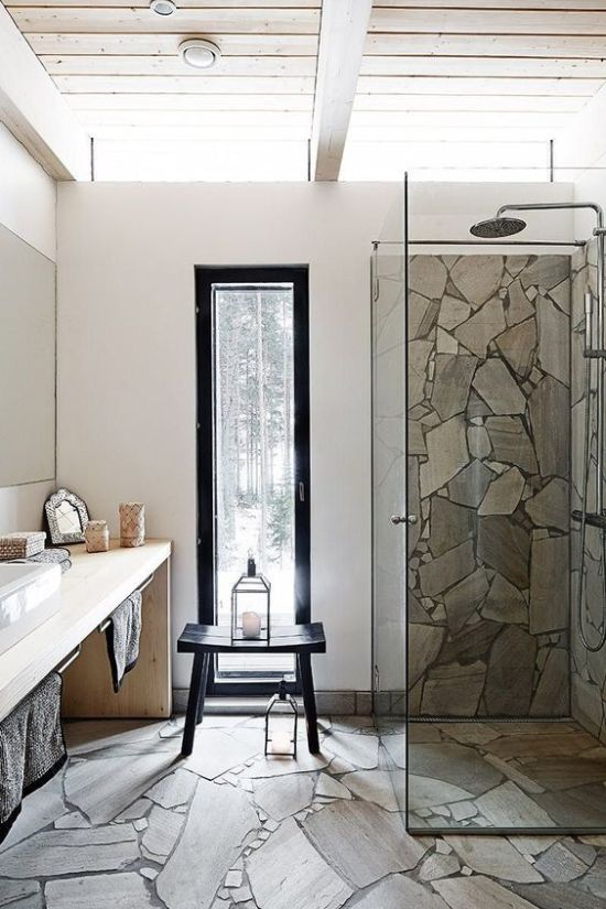A Minimalist Bathroom With A Floor And A Shower Space Clad With Stone Plus A Sleek Modern Vanity