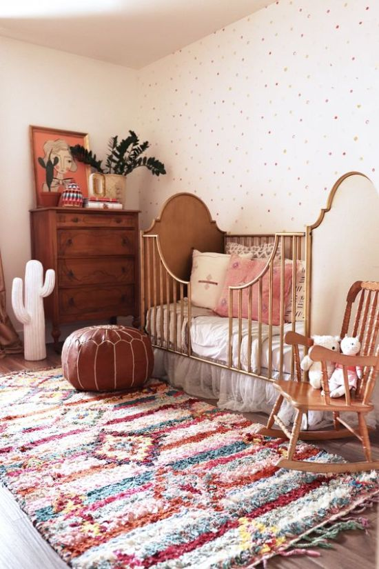 Beautiful Boho Nursery With A Polka Dot Wall