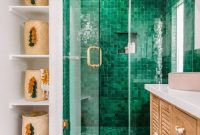 Boho Attic Bathroom With An Emerald Tile Shower Space