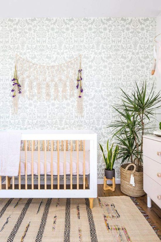 Boho Nursery With A Botanical Wallpaper Wall