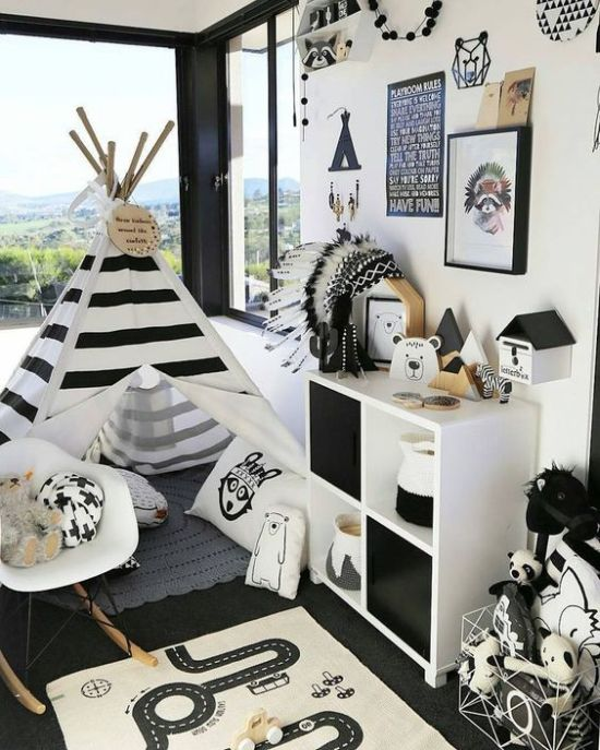 Bold Adventurous Nursery With A Striped Teepee