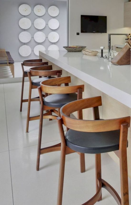 Bold Wood And Leather Barstools